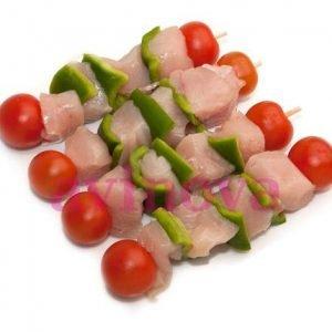 Broquetes de pollastre amb verdures